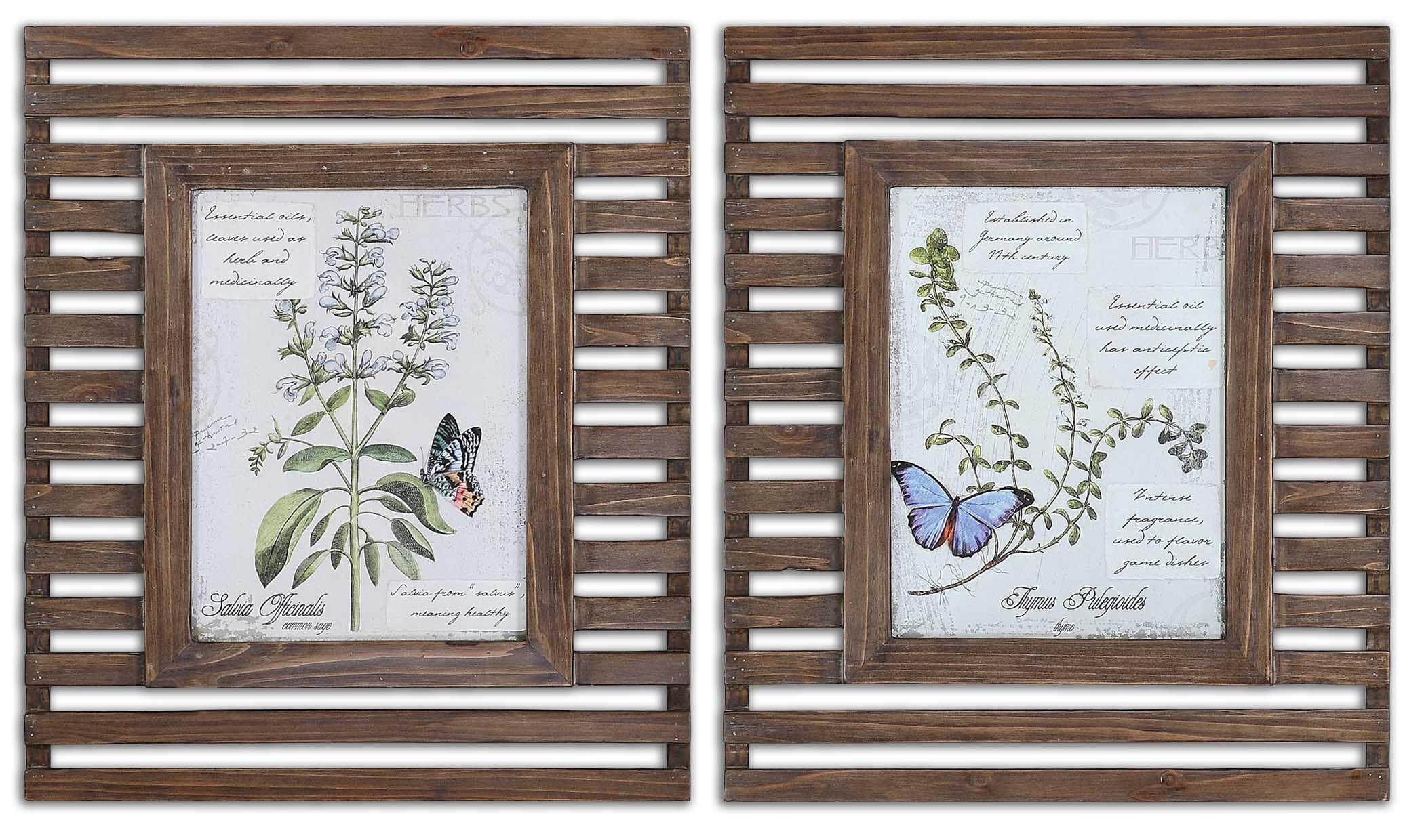 Uttermost 34037 Herbs & Butterflies Wood Framed Art