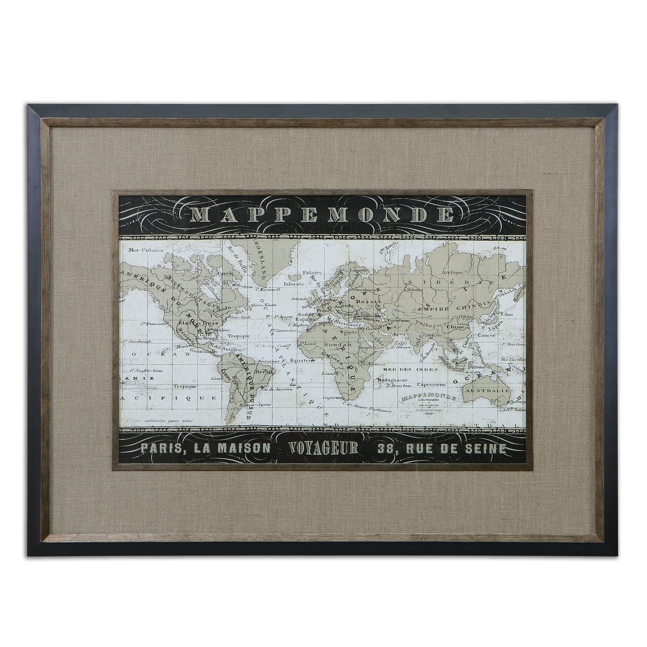 Uttermost 41420 Mappemonde Framed Art