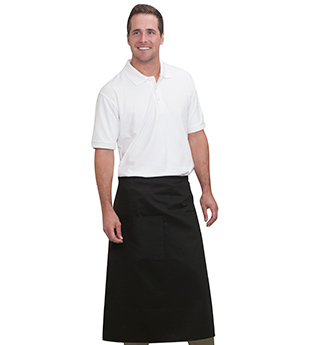 7.5 oz. cotton twill solid color one pocket bistro apron