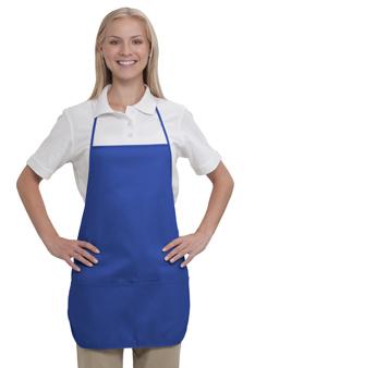 7.5 oz. cotton twill solid color two pocket medium bib aprons