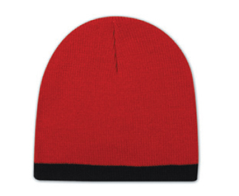 Acrylic knit two tone color beanies, 8 with 7/8 trim