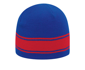 Acrylic knit two tone color beanies with stripes, 8...