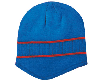 Acrylic knit two tone color beanies with stripes
