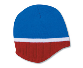 Acrylic knit two tone color beanies with trim and fleece ...