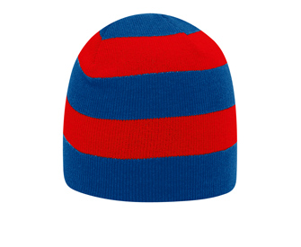 Acrylic knit two tone color striped beanies, 8 1/2