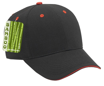 Brushed bamboo twill sandwich visor solid color six panel low profile pro style caps