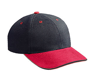 Brushed bull denim sandwich visor solid and two tone color six panel low profile pro style caps