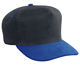 Brushed bull denim two tone color five panel low crown golf style caps