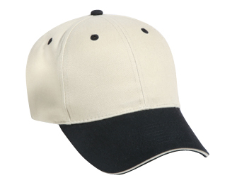 Brushed cotton twill sandwich visor solid and two tone color six panel low profile pro style caps