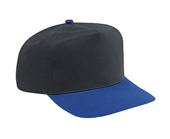 Brushed cotton twill two tone color five panel high crown golf style caps