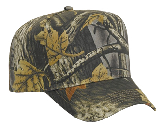 Camouflage cotton twill five panel low crown golf style caps