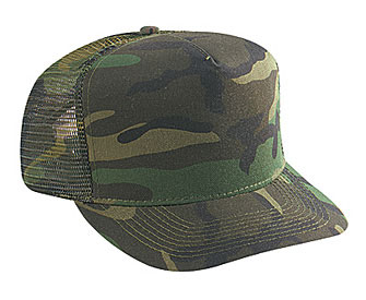 Camouflage cotton twill five panel low crown golf style mesh back caps