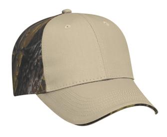 Camouflage cotton twill sandwich visor two tone color six panel low profile pro style caps