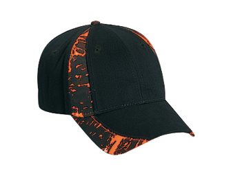 Camouflage piping design brushed cotton twill two tone color six panel low profile pro style caps