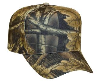 Camouflage polyester five panel low crown golf style caps