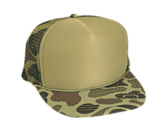 Camouflage polyester foam front five panel high crown ...