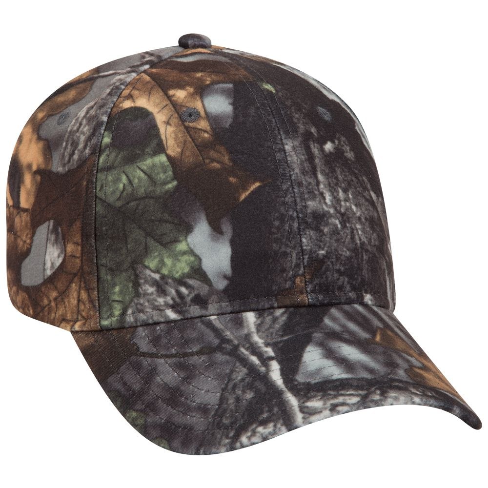 Camouflage polyester low profile pro style caps