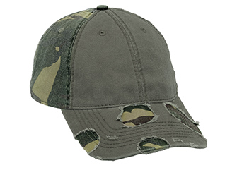 Camouflage superior garment washed cotton twill distressed two tone color six panel low profile pro style caps