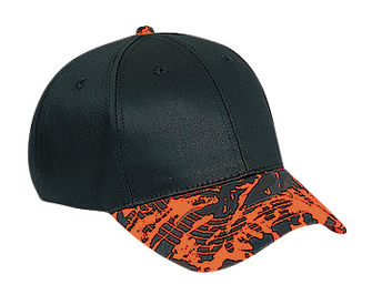 Camouflage visor cotton twill two tone color six panel low profile pro style caps