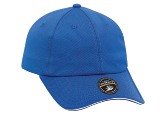 Cool Comfort polyester cool mesh sandwich visor withstriped closure solid color six panel low profile pro style caps