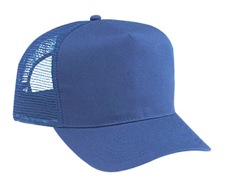 Cotton twill solid color five panel pro style mesh back caps