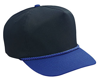 Cotton twill solid and two tone color five panel low crown golf style caps