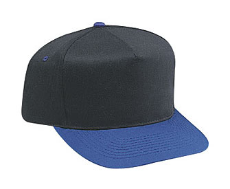 Cotton twill solid and two tone color five panel pro style caps