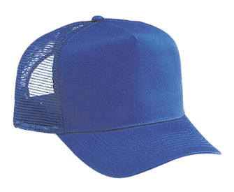 Cotton twill solid and two tone color five panel pro style mesh back caps