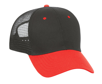Cotton twill solid and two tone color six panel low profile pro style mesh back caps