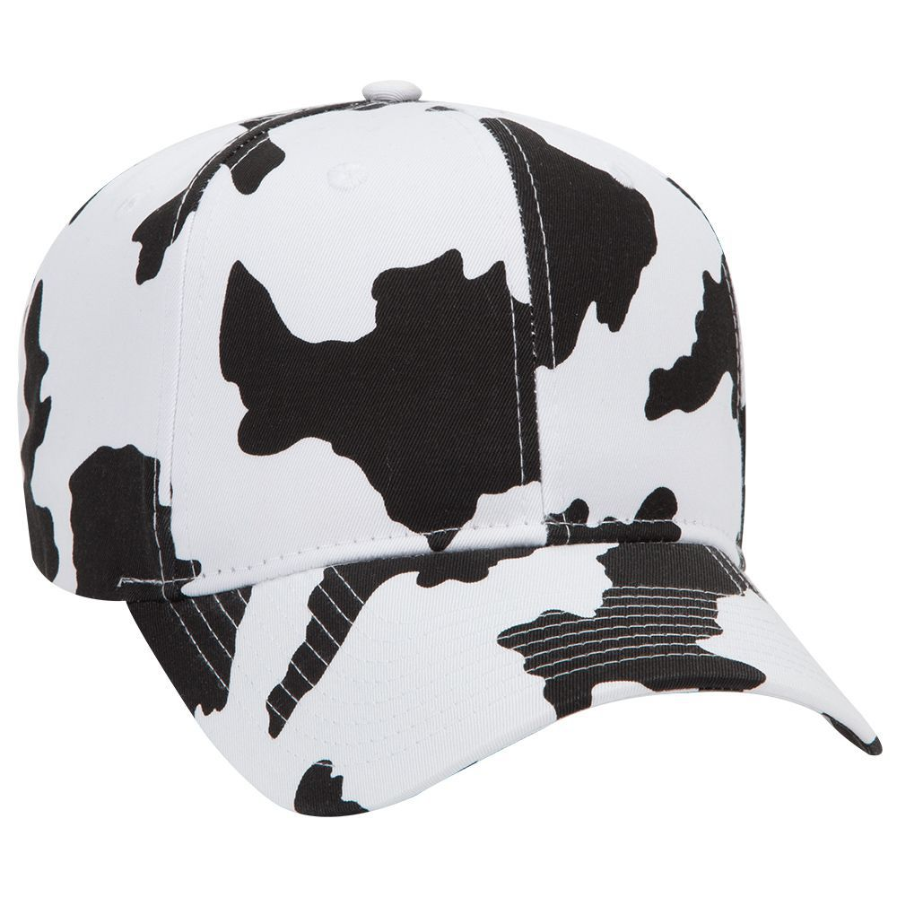 Cow pattern cotton twill two tone color six panel pro style cap