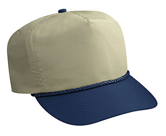 Deluxe poplin two tone color five panel high crown golf style cap