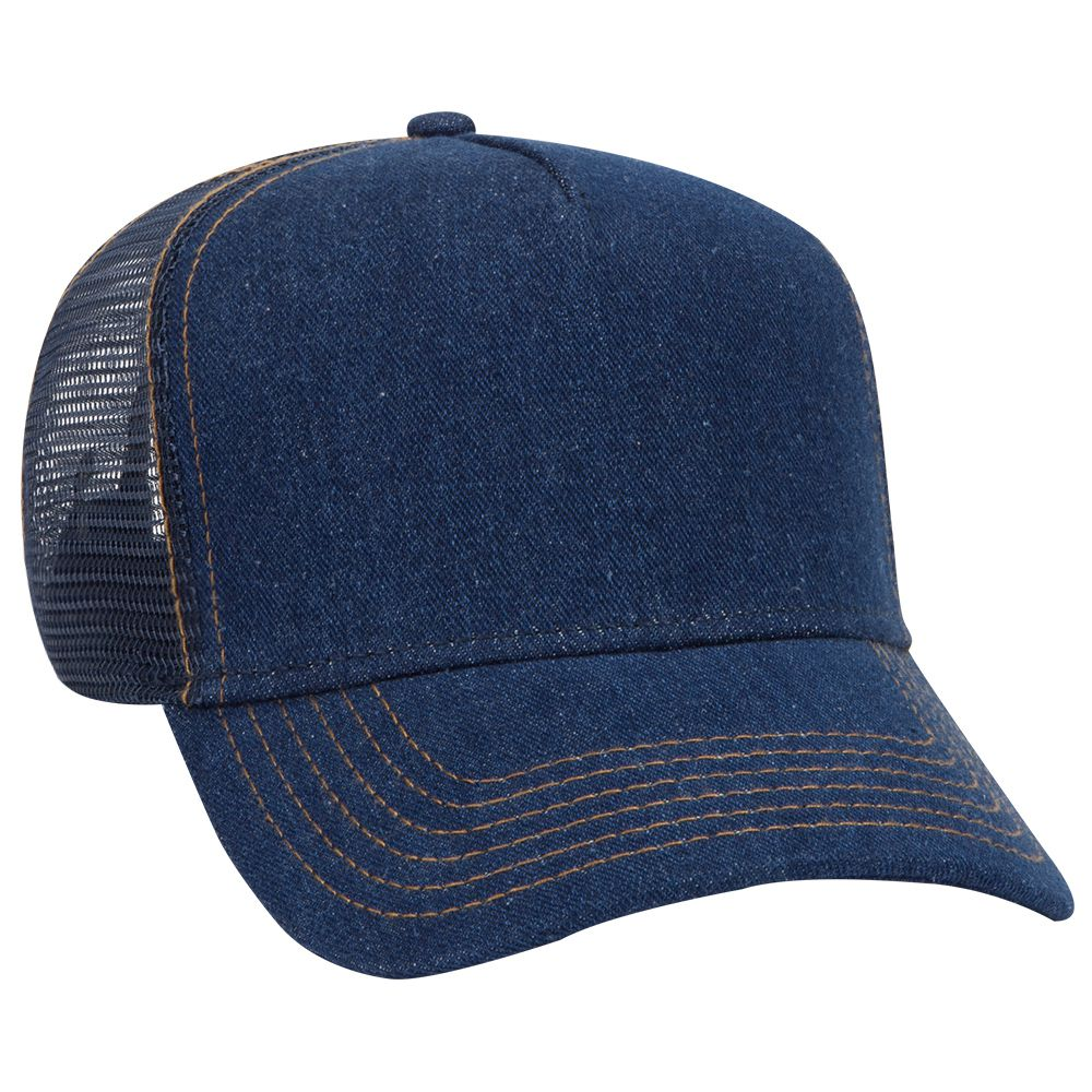 OTTO Cap 39-090 - Denim 5 Panel Mid Profile Mesh Back ...