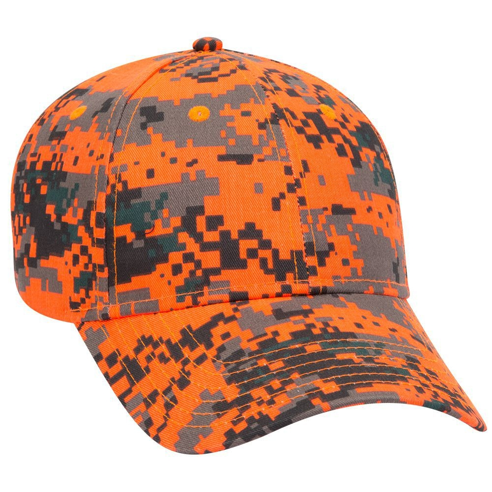 Digital camouflage cotton twill low profile pro style caps