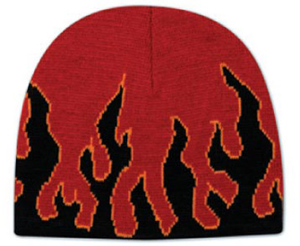 """Flame design acrylic knit two tone color beanies, 8"""""""