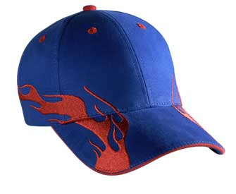 Flame pattern brushed cotton twill sandwich visor two tone color six panel low profile pro style caps (2004 OTTO)