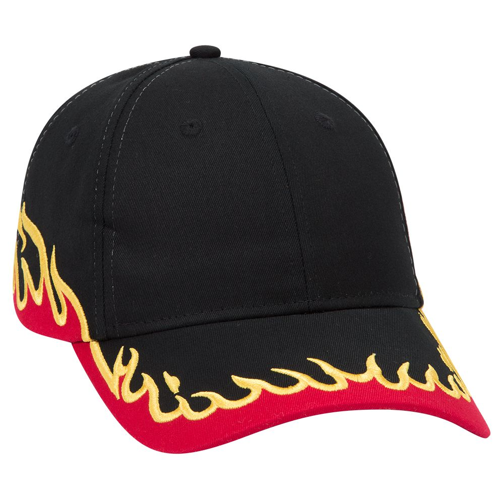 Flame pattern cotton twill two tone color six panel low profile pro style cap (2005 OTTO)