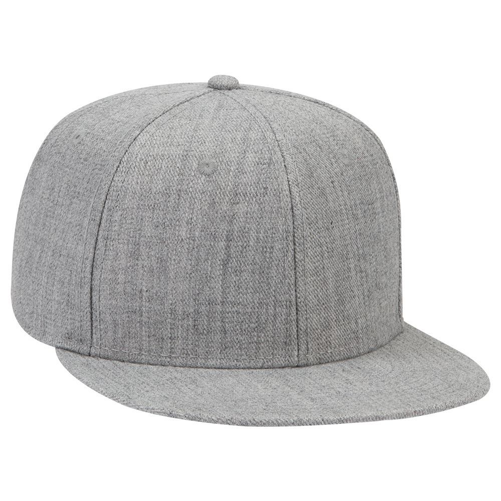 Heather wool blend flat visor snapback solid and two ...