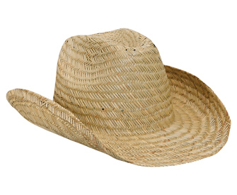Natural straw fitted solid color six panel cowboy hat