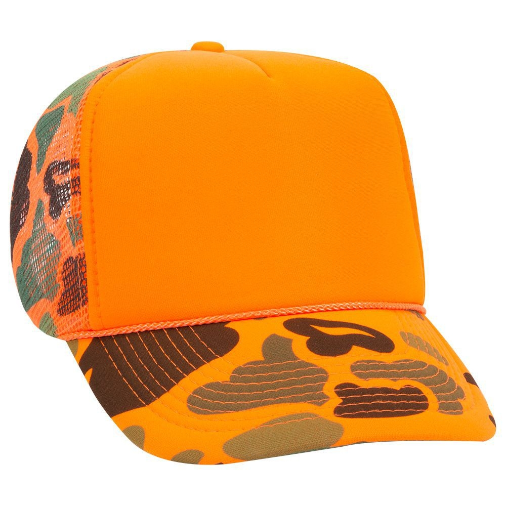 Neon camouflage polyester foam front five panel high crown golf style mesh back cap (plain front)