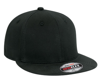 OTTO Flex stretchable brushed cotton twill flat visor solid color six panel pro style caps