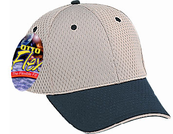 OTTO Flex stretchable polyester pro mesh sandwich visor solid and two tone color six panel low profile pro style caps