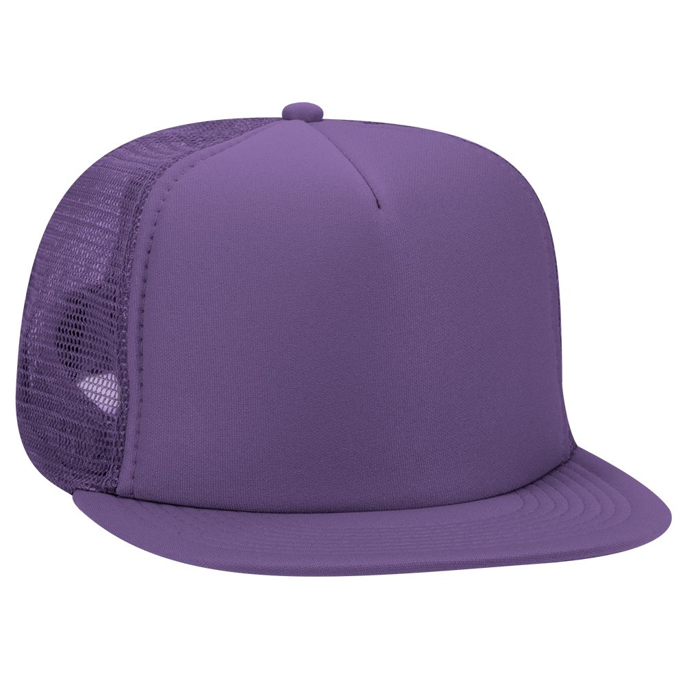 Polyester foam front flat visor solid and two tone color ...