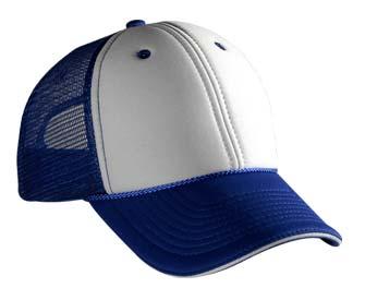 Polyester foam front sandwich visor two tone color six panel low profile pro style mesh back caps