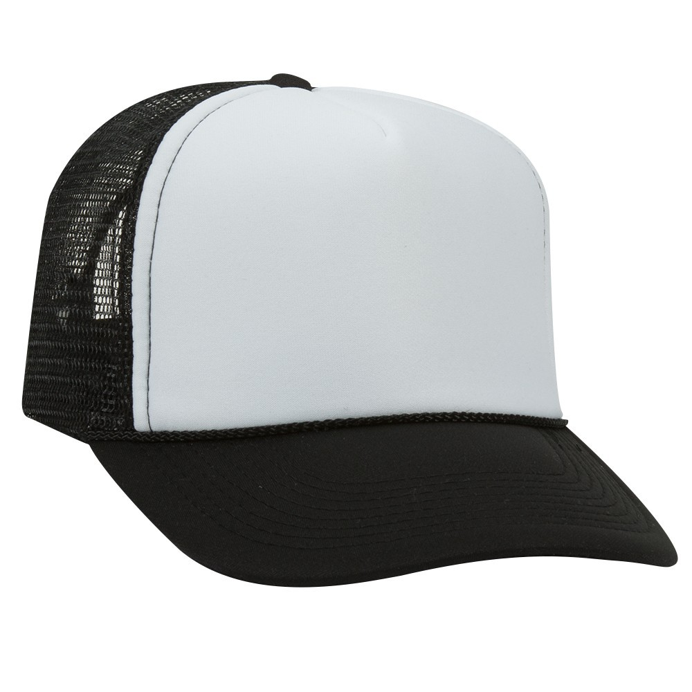 Polyester foam front solid and two tone color five panel pro style mesh back caps