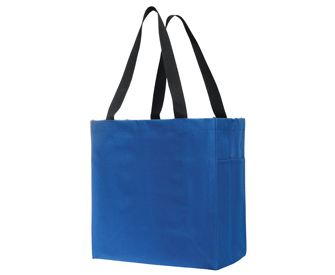 Polyester solid color carry-all tote bags, 14H x 13 ...