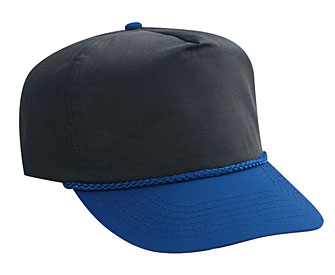 Poplin two tone color five panel high crown golf style caps