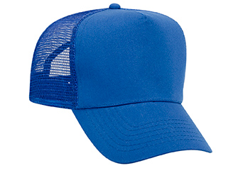 Promo cotton twill solid color five panel pro style mesh back caps