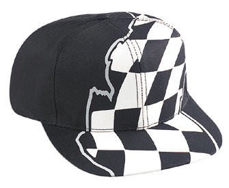 Racing flag pattern cotton twill two tone color six panel pro style cap