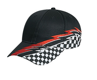 Racing pattern cotton twill two tone color six panel ...