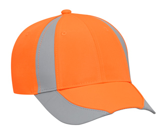 Reflective piping design neon deluxe polyester twill two tone color six panel low profile pro style caps